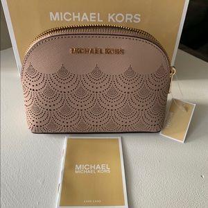 NWT Authentic Michael Kors leather makeup bag